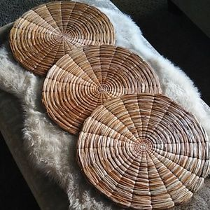 Vintage 80s Boho Straw Placemats Wall Decor